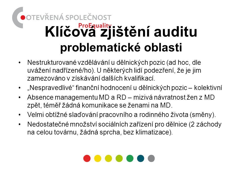 Klíčová zjištění auditu problematické oblasti •Nestrukturované vzdělávání u dělnických pozic (ad hoc, dle uvážení nadřízené/ho). U některých lidí pode
