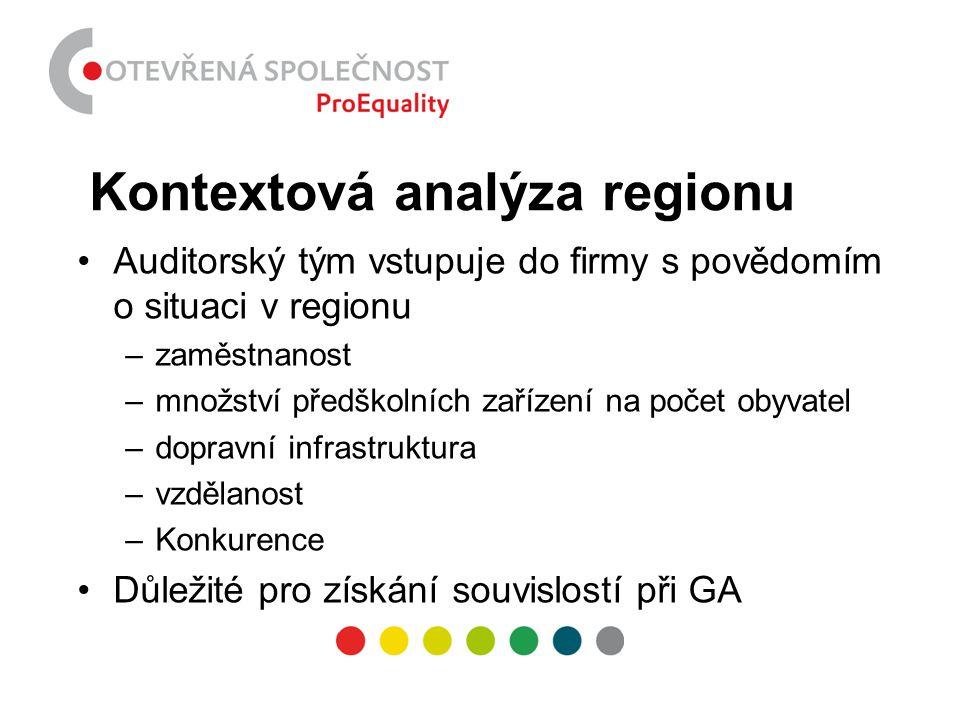 Kontextová analýza regionu •Auditorský tým vstupuje do firmy s povědomím o situaci v regionu –zaměstnanost –množství předškolních zařízení na počet ob