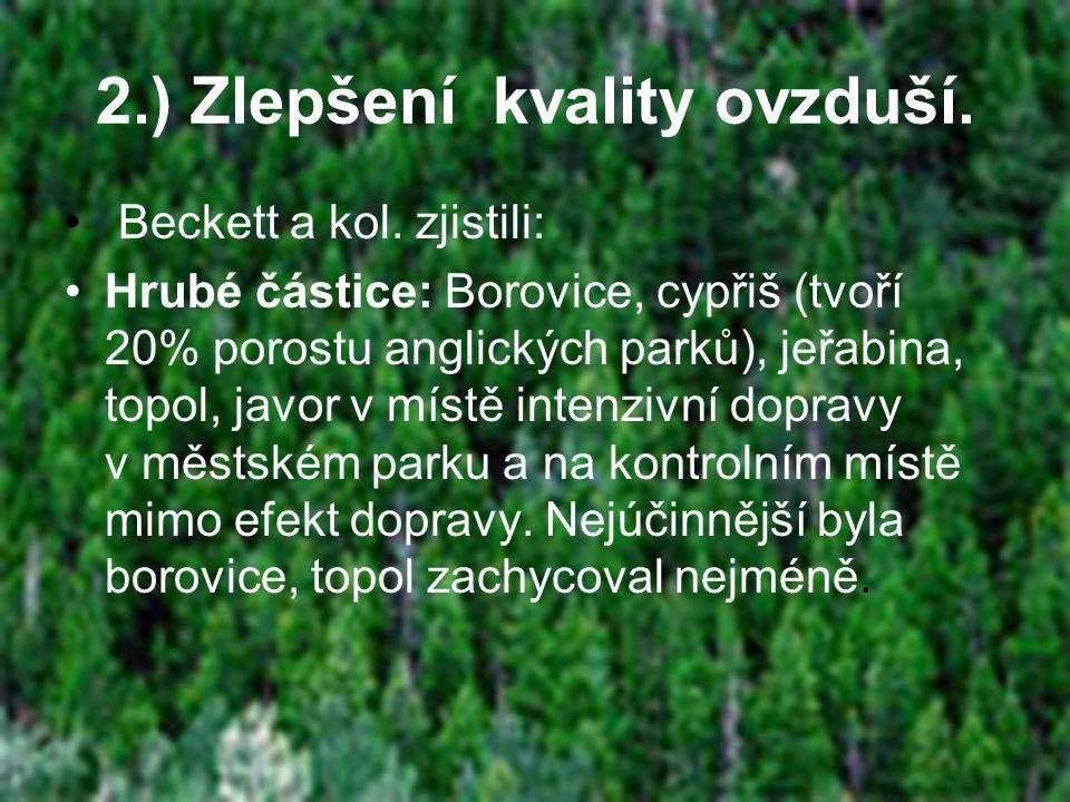 2.) Zlepšení kvality ovzduší. • Beckett a kol.