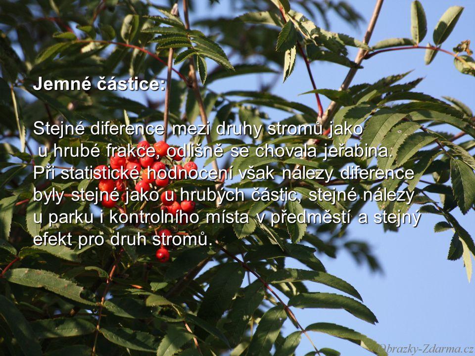 Jemné částice: Stejné diference mezi druhy stromů jako u hrubé frakce, odlišně se chovala jeřabina.