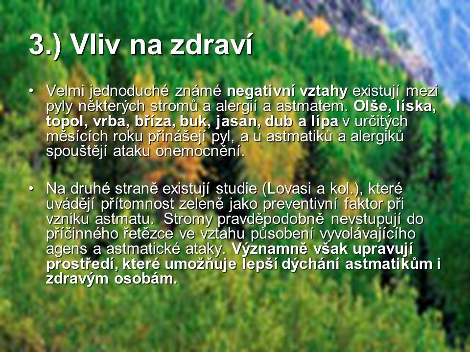 •Velmi jednoduché známé negativní vztahy existují mezi pyly některých stromů a alergií a astmatem.
