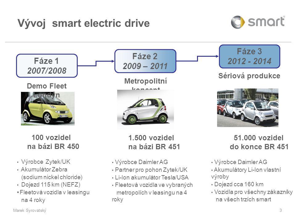 Marek Syrovatský4 •Design:jako současný model BR 451 •Varianty:C/A 451 ev LHD a C 451 ev RHD •Trh:ECE a USA/CAN, plný servis v době leasingu (4 roky / 60.000 km) •SoP11/2009 •SoD: 12/2009 •Objem:1.500 vozidel během 2009-2011 Ve vybraných metropolích Trh/Objem •Dojezd:135 km (NEFZ), 82 mls (UDDS); reálně možné > 150 km •V max :100 km/h / 62 mph •Hmotnost:GVW: 1.120 kg coupé: DIN prázdné 890 kg; zatížení 230 kg cabrio: DIN prázdné 910 kg; zatížení 210 kg Specifikace •Provedení:SS elektromotor/převodovka/řídící elektronika v jednom modulu vzadu •E-motor:PM motor, 20 kW trvale, 30 kW peak (2 min) •Akumulátor:Li-Ion akumulátor 16,5 kWh s vodním chlaz.