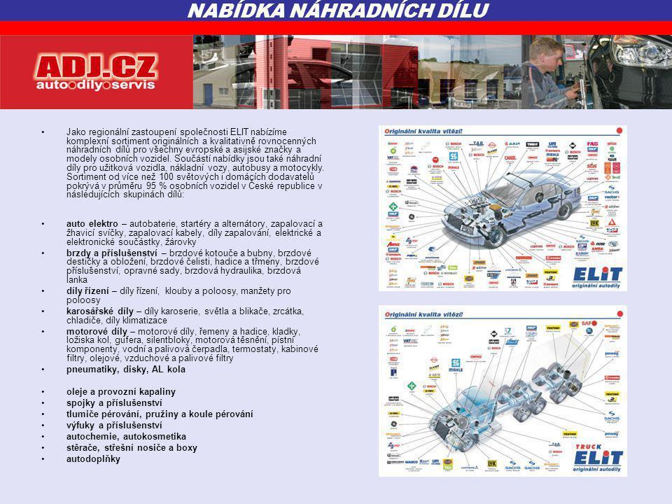 •Jako regionální zastoupení společnosti ELIT nabízíme komplexní sortiment originálních a kvalitativně rovnocenných náhradních dílů pro všechny evropské a asijské značky a modely osobních vozidel.