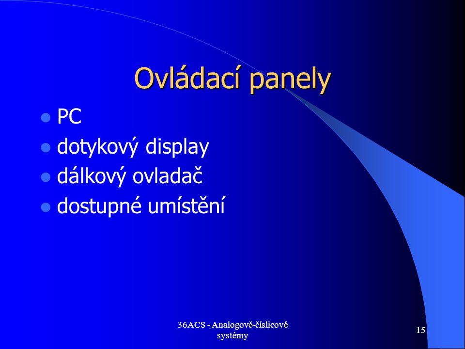 36ACS - Analogově-číslicové systémy 15 Ovládací panely  PC  dotykový display  dálkový ovladač  dostupné umístění