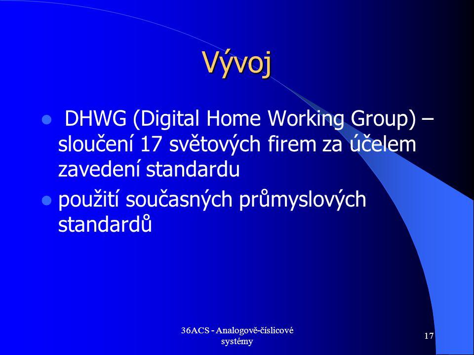 36ACS - Analogově-číslicové systémy 17 Vývoj  DHWG (Digital Home Working Group) – sloučení 17 světových firem za účelem zavedení standardu  použití