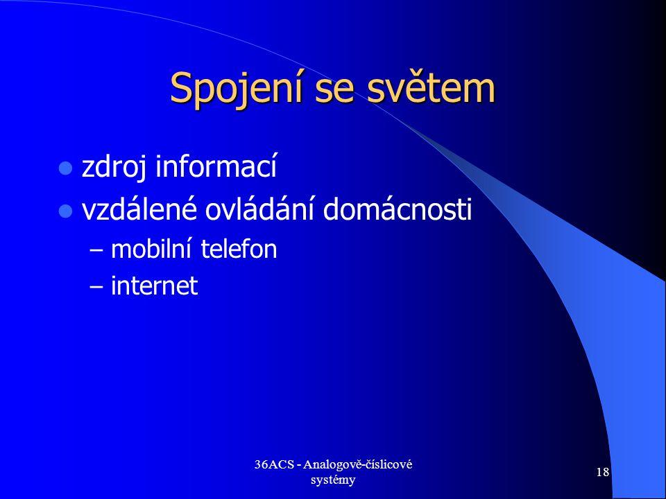 36ACS - Analogově-číslicové systémy 18 Spojení se světem  zdroj informací  vzdálené ovládání domácnosti – mobilní telefon – internet