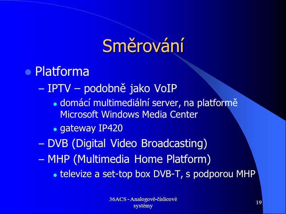 36ACS - Analogově-číslicové systémy 19 Směrování  Platforma – IPTV – podobně jako VoIP  domácí multimediální server, na platformě Microsoft Windows