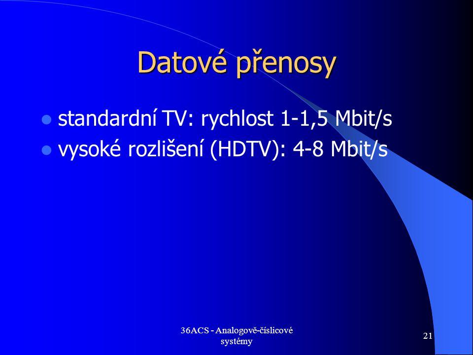 36ACS - Analogově-číslicové systémy 21 Datové přenosy  standardní TV: rychlost 1-1,5 Mbit/s  vysoké rozlišení (HDTV): 4-8 Mbit/s