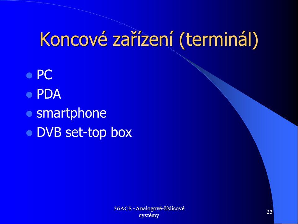 36ACS - Analogově-číslicové systémy 23 Koncové zařízení (terminál)  PC  PDA  smartphone  DVB set-top box