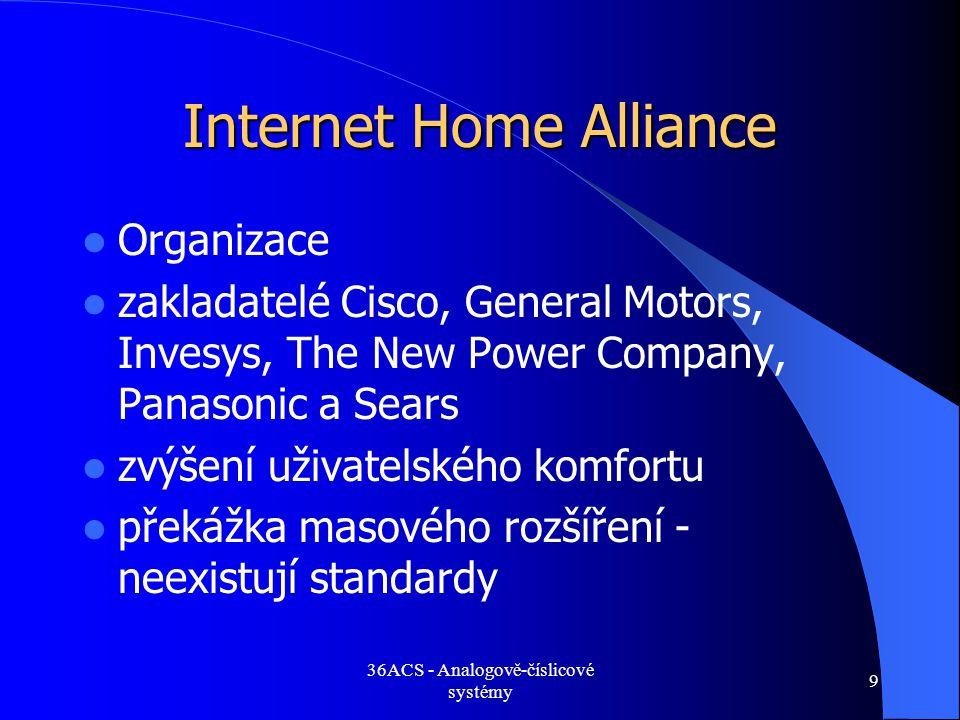 36ACS - Analogově-číslicové systémy 9 Internet Home Alliance  Organizace  zakladatelé Cisco, General Motors, Invesys, The New Power Company, Panason