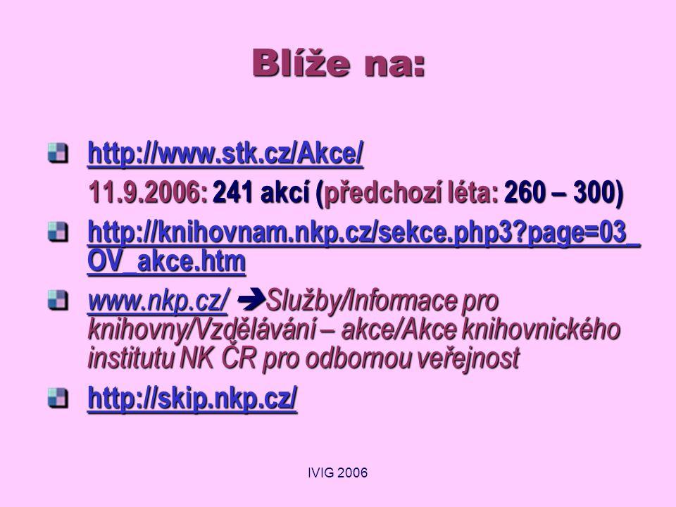 IVIG 2006 Blíže na: http://www.stk.cz/Akce/ 11.9.2006: 241 akcí (předchozí léta: 260 – 300) 11.9.2006: 241 akcí (předchozí léta: 260 – 300) http://knihovnam.nkp.cz/sekce.php3 page=03_ OV_akce.htm http://knihovnam.nkp.cz/sekce.php3 page=03_ OV_akce.htm www.nkp.cz/www.nkp.cz/  Služby/Informace pro knihovny/Vzdělávání – akce/Akce knihovnického institutu NK ČR pro odbornou veřejnost www.nkp.cz/ http://skip.nkp.cz/