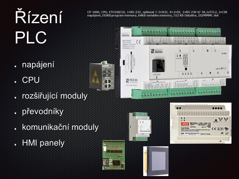 Řízení PLC napájeníCPU rozšiřující moduly převodníky komunikační moduly HMI panely CP-1000, CPU, ETH100/10, 1×RS-232, optional 1-3×SCH, 4+2×DI, 1×RO 2