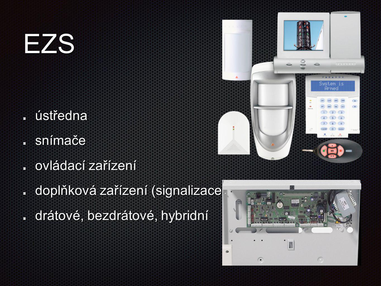 EZS ústřednasnímače ovládací zařízení doplňková zařízení (signalizace) drátové, bezdrátové, hybridní