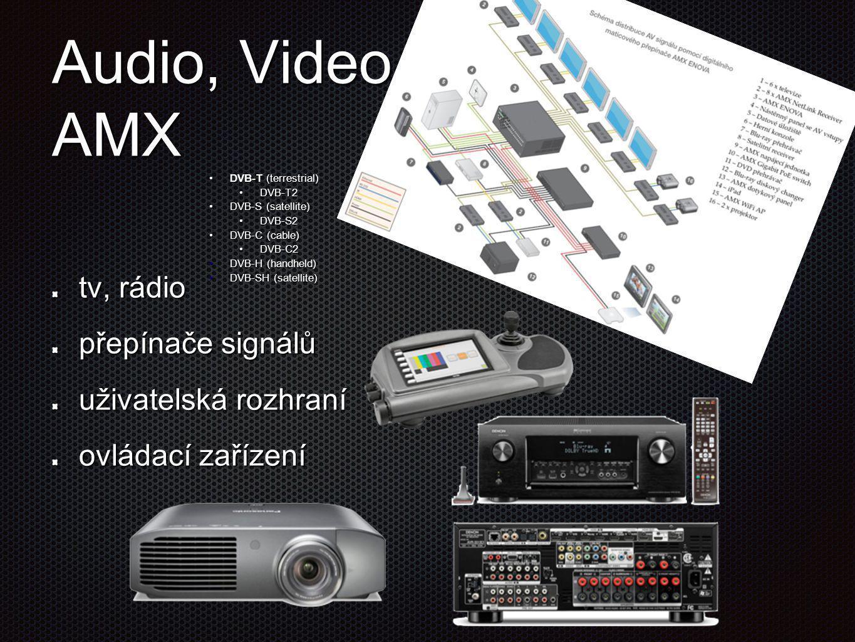 Audio, Video AMX tv, rádio přepínače signálů uživatelská rozhraní ovládací zařízení •DVB-T (terrestrial) •DVB-T2 •DVB-S (satellite) •DVB-S2 •DVB-C (ca