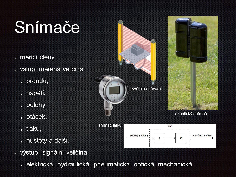 Snímače měřící členy vstup: měřená veličina proudu, nape ̌ tí, polohy, otác ̌ ek, tlaku, hustoty a další. výstup: signální veličina elektrická, hydrau
