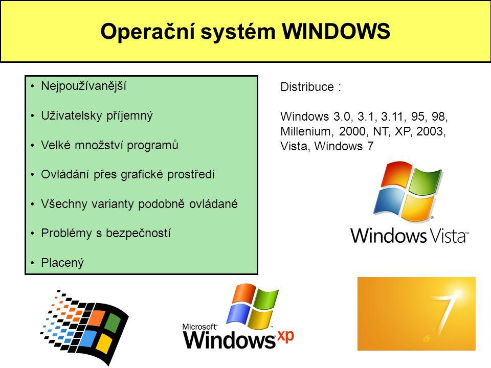 Operační systém WINDOWS • Nejpoužívanější • Uživatelsky příjemný • Velké množství programů • Ovládání přes grafické prostředí • Všechny varianty podob