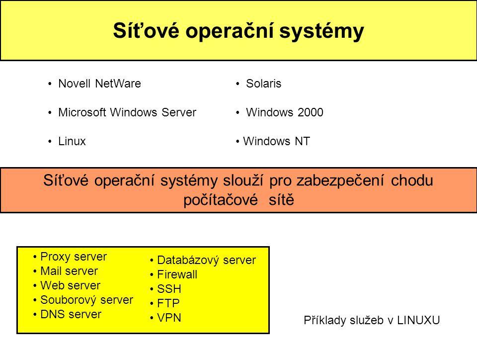 Síťové operační systémy • Novell NetWare • Microsoft Windows Server • Linux Síťové operační systémy slouží pro zabezpečení chodu počítačové sítě • Pro