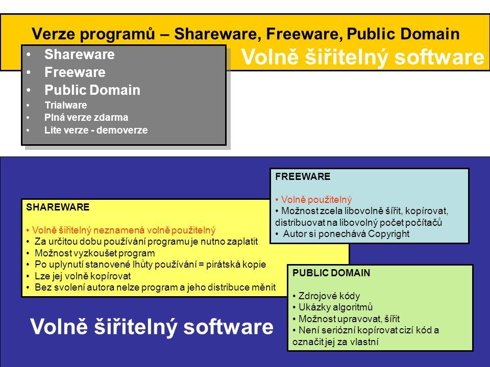 Verze programů – Trialware, plná verze zdarma, Lite verze •Shareware •Freeware •Public Domain •Trialware •Plná verze zdarma •Lite verze •Shareware •Freeware •Public Domain •Trialware •Plná verze zdarma •Lite verze TRIALWARE • Možnost vyzkoušet program před zaplacením • Autor nesvolil k volnému šíření programu • K hromadnému šíření z nezávislého zdroje je třeba získat souhlas autora, producenta nebo vlastníka autorských práv ( na rozdíl od sharewaru) PLNÁ VERZE ZDARMA • nelze volně šířit • většinou komerční programy • volné použití za určitých podmínek • použití programu po určité době jen po registraci LITE VERZE • Odlehčené – ochuzené verze programů • Některé light verze mohou být šířeny jako freeware • některé jsou šířeny jako OEM verze Obvykle je nelze volně šířit