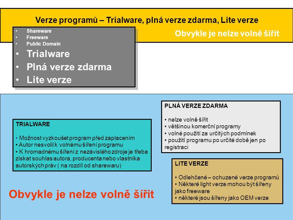 Verze programů – Trialware, plná verze zdarma, Lite verze •Shareware •Freeware •Public Domain •Trialware •Plná verze zdarma •Lite verze •Shareware •Fr