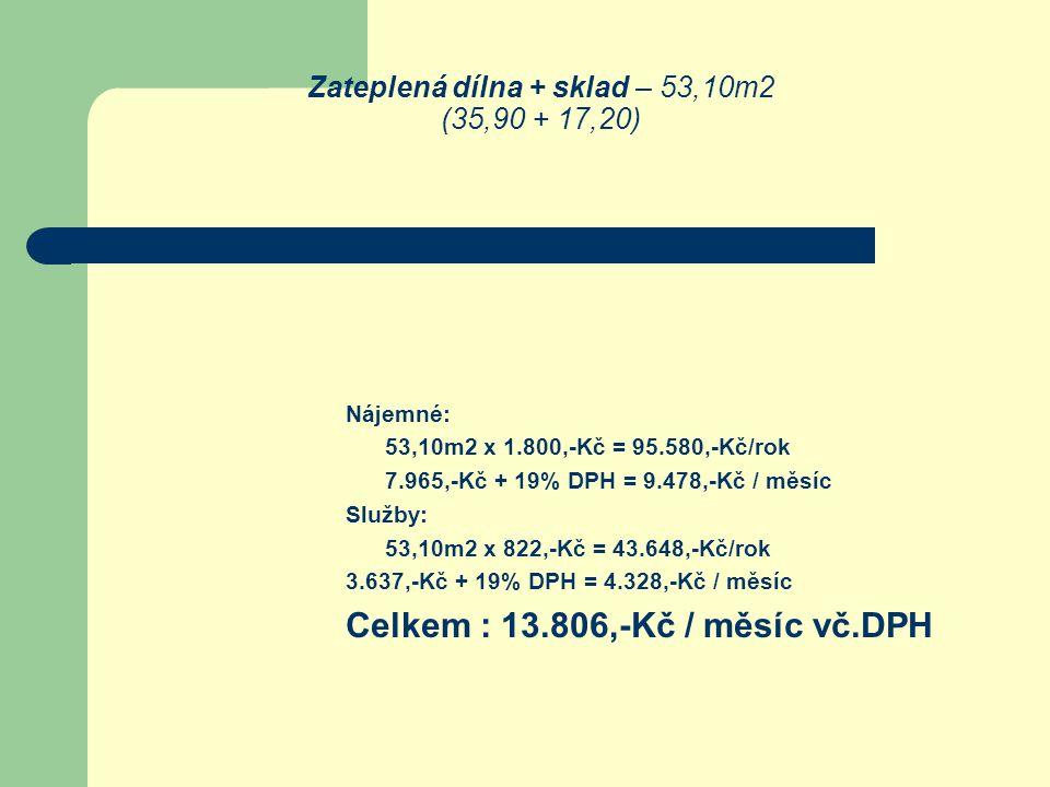 Zateplená dílna + sklad – 53,10m2 (35,90 + 17,20) Nájemné: 53,10m2 x 1.800,-Kč = 95.580,-Kč/rok 7.965,-Kč + 19% DPH = 9.478,-Kč / měsíc Služby: 53,10m