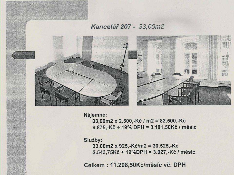 Dvojkancelář 306 – 57,15m2 volné od 1.4.2007 Nájemné: 57,15m2 x 2.500,-Kč/m2 = 142.875,-Kč 11.906,25Kč + 19%DPH = 14.168,-Kč / měsíc Služby: 57,15m2 x 925,-Kč /m2 = 52.864,-Kč/ rok 4.405,-Kč + 19%DPH = 5.242,-Kč / měsíc Celkem : 19.410,-Kč / měsíc vč.DPH