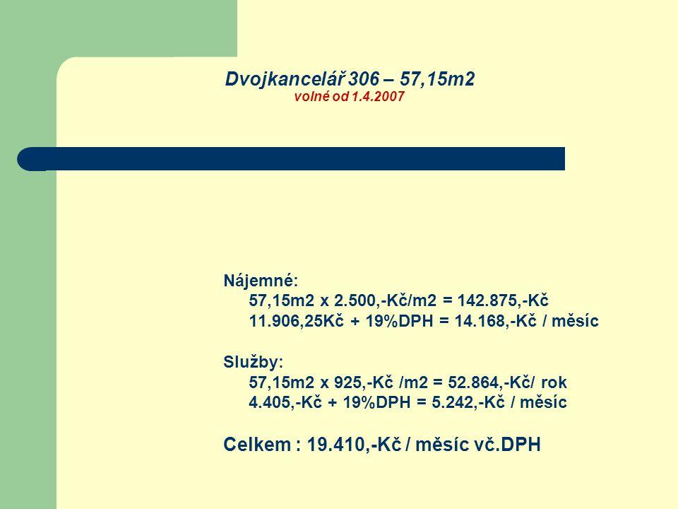 Dvojkancelář 306 – 57,15m2 volné od 1.4.2007 Nájemné: 57,15m2 x 2.500,-Kč/m2 = 142.875,-Kč 11.906,25Kč + 19%DPH = 14.168,-Kč / měsíc Služby: 57,15m2 x