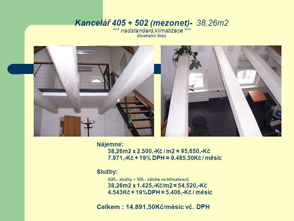 Kancelář 405 + 502 (mezonet)- 38,26m2 *** nadstandard,klimatizace *** (ilustrační foto) Nájemné: 38,26m2 x 2.500,-Kč / m2 = 95.650,-Kč 7.971,-Kč + 19%