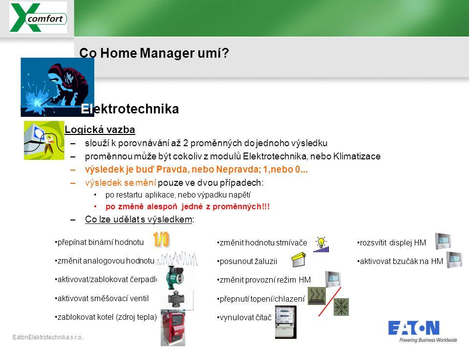 EatonElektrotechnika s.r.o. •přepínat binární hodnotu •změnit analogovou hodnotu •aktivovat/zablokovat čerpadlo •aktivovat směšovací ventil •zablokova