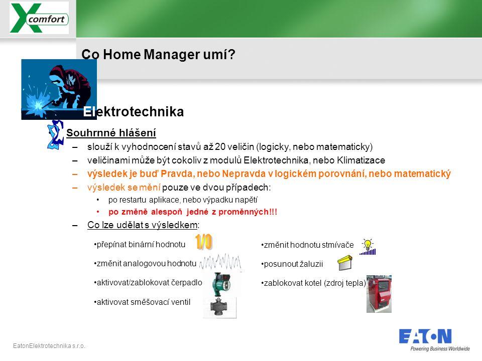 EatonElektrotechnika s.r.o. •přepínat binární hodnotu •změnit analogovou hodnotu •aktivovat/zablokovat čerpadlo •aktivovat směšovací ventil •Souhrnné