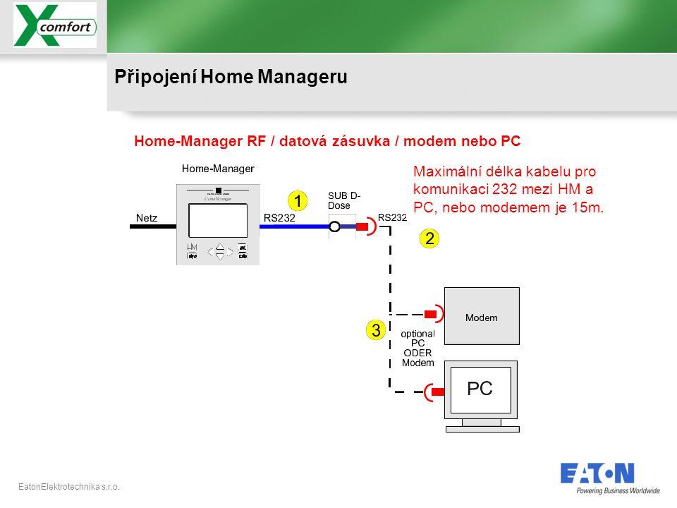 EatonElektrotechnika s.r.o. Home-Manager RF / datová zásuvka / modem nebo PC Připojení Home Manageru Maximální délka kabelu pro komunikaci 232 mezi HM
