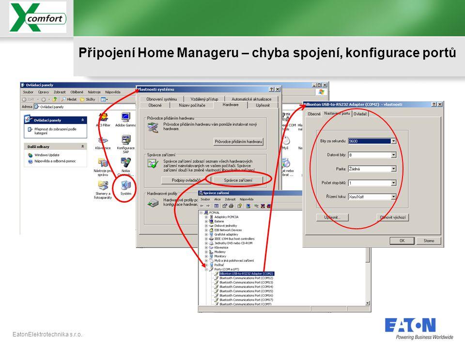 EatonElektrotechnika s.r.o. Připojení Home Manageru – chyba spojení, konfigurace portů