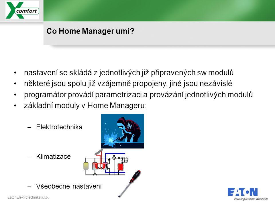 EatonElektrotechnika s.r.o. •nastavení se skládá z jednotlivých již připravených sw modulů •některé jsou spolu již vzájemně propojeny, jiné jsou nezáv