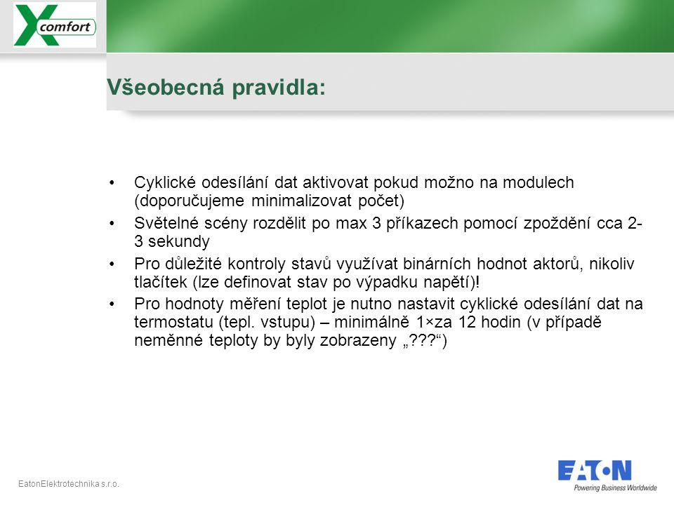 EatonElektrotechnika s.r.o. •Cyklické odesílání dat aktivovat pokud možno na modulech (doporučujeme minimalizovat počet) •Světelné scény rozdělit po m