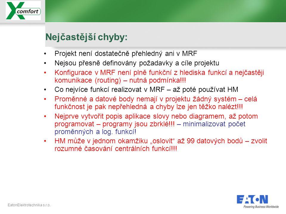 EatonElektrotechnika s.r.o. •Projekt není dostatečně přehledný ani v MRF •Nejsou přesně definovány požadavky a cíle projektu •Konfigurace v MRF není p
