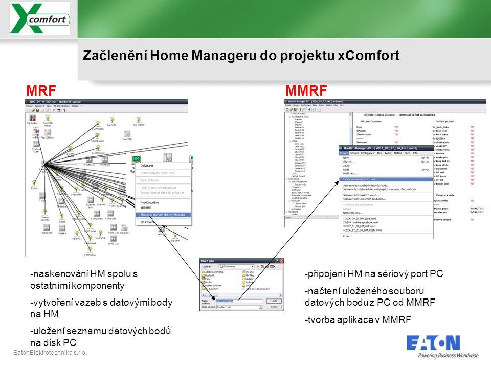 EatonElektrotechnika s.r.o. Začlenění Home Manageru do projektu xComfort MRFMMRF -naskenování HM spolu s ostatními komponenty -vytvoření vazeb s datov