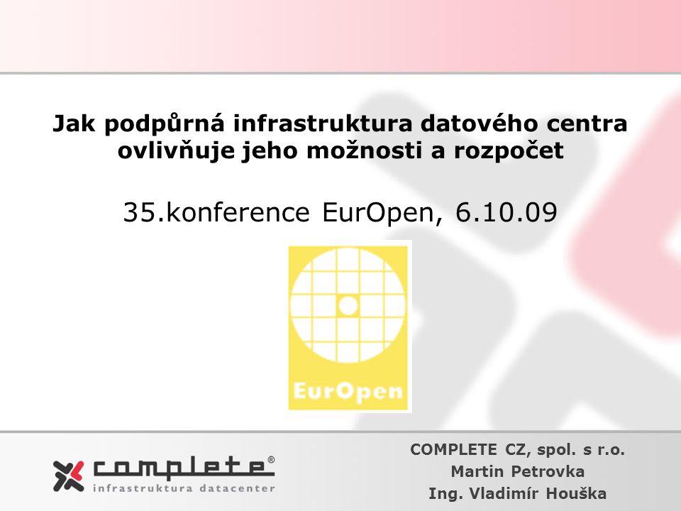 Jak podpůrná infrastruktura datového centra ovlivňuje jeho možnosti a rozpočet 35.konference EurOpen, 6.10.09 COMPLETE CZ, spol. s r.o. Martin Petrovk