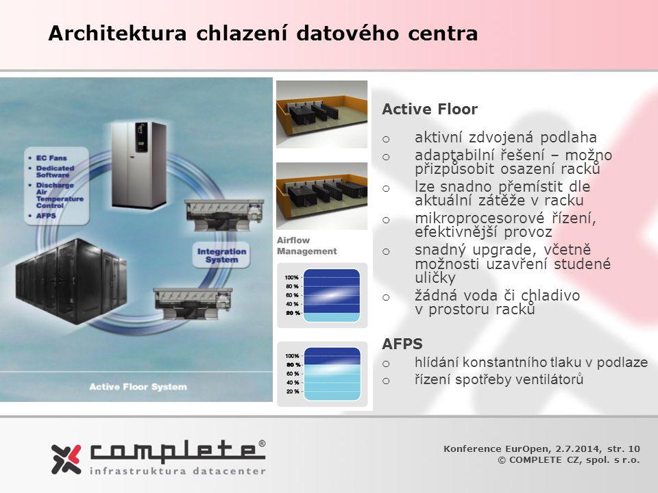 Architektura chlazení datového centra Active Floor o aktivní zdvojená podlaha o adaptabilní řešení – možno přizpůsobit osazení racků o lze snadno přem