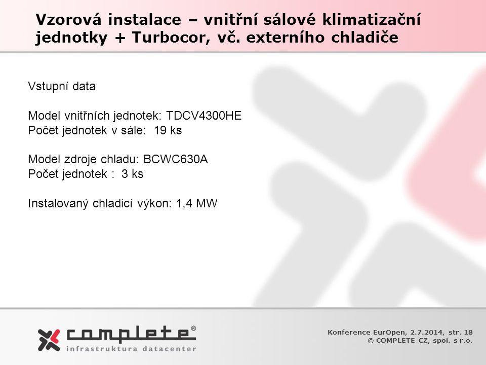 Vzorová instalace – vnitřní sálové klimatizační jednotky + Turbocor, vč. externího chladiče Konference EurOpen, 2.7.2014, str. 18 © COMPLETE CZ, spol.