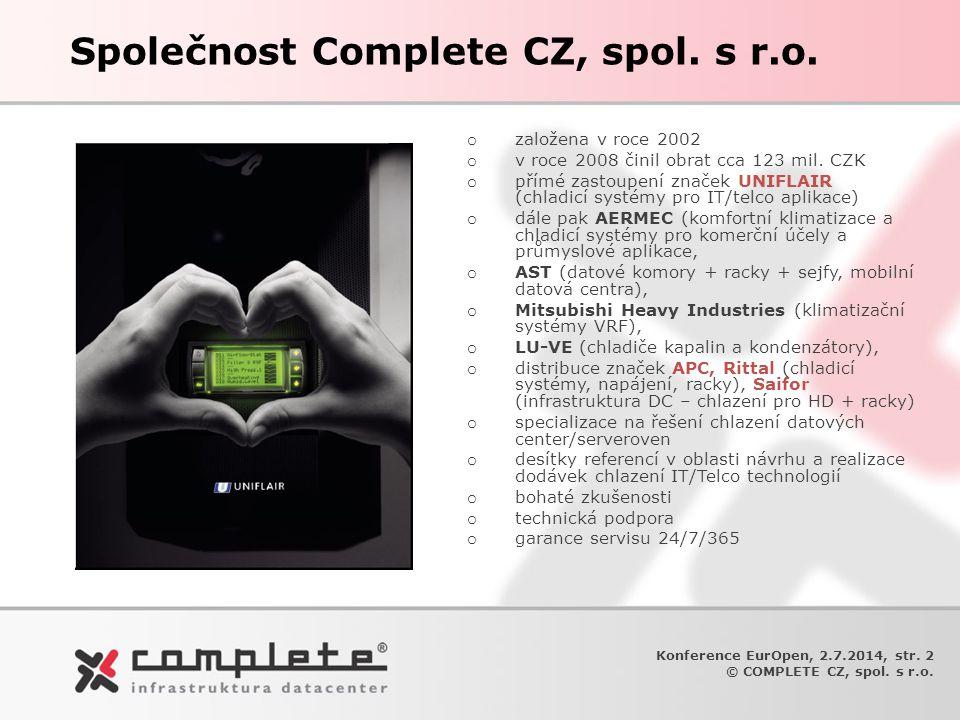 Konference EurOpen, 2.7.2014, str. 2 © COMPLETE CZ, spol. s r.o. Společnost Complete CZ, spol. s r.o. o založena v roce 2002 o v roce 2008 činil obrat