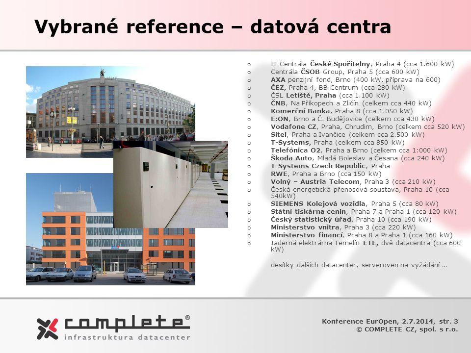 Vybrané reference – datová centra o IT Centrála České Spořitelny, Praha 4 (cca 1.600 kW) o Centrála ČSOB Group, Praha 5 (cca 600 kW) o AXA penzijní fo