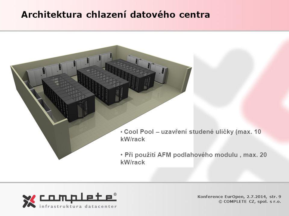 Architektura chlazení datového centra Konference EurOpen, 2.7.2014, str. 9 © COMPLETE CZ, spol. s r.o. • Cool Pool – uzavření studené uličky (max. 10