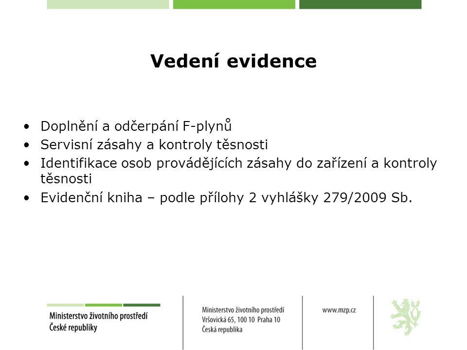 Vedení evidence •Doplnění a odčerpání F-plynů •Servisní zásahy a kontroly těsnosti •Identifikace osob provádějících zásahy do zařízení a kontroly těsn