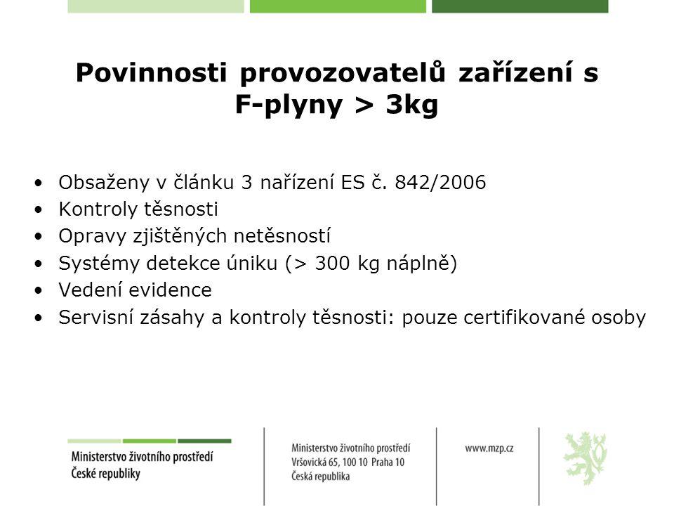 Povinnosti provozovatelů zařízení s F-plyny > 3kg •Obsaženy v článku 3 nařízení ES č. 842/2006 •Kontroly těsnosti •Opravy zjištěných netěsností •Systé