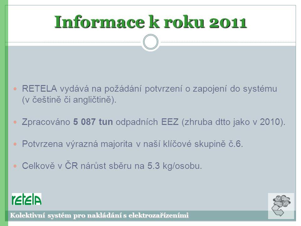 Informace k roku 2011  RETELA vydává na požádání potvrzení o zapojení do systému (v češtině či angličtině).