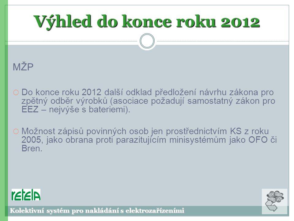 Výhled do konce roku 2012 MŽP  Do konce roku 2012 další odklad předložení návrhu zákona pro zpětný odběr výrobků (asociace požadují samostatný zákon pro EEZ – nejvýše s bateriemi).