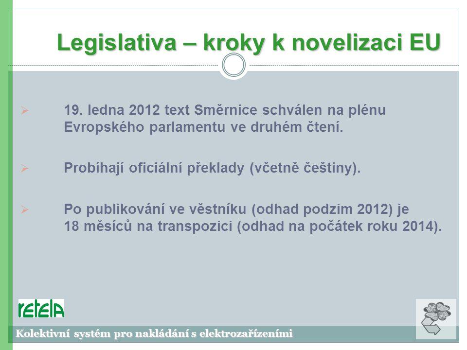 Legislativa – kroky k novelizaci EU Kolektivní systém pro nakládání s elektrozařízeními  19.