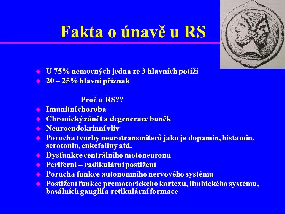Fakta o únavě u RS u U 75% nemocných jedna ze 3 hlavních potíží u 20 – 25% hlavní příznak Proč u RS .