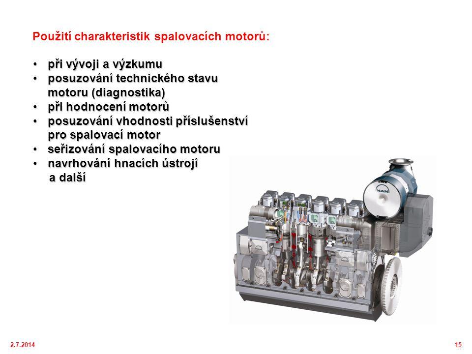 2.7.201415 •při vývoji a výzkumu •posuzování technického stavu motoru (diagnostika) •při hodnocení motorů •posuzování vhodnosti příslušenství pro spalovací motor •seřizování spalovacího motoru •navrhování hnacích ústrojí a další a další Použití charakteristik spalovacích motorů:
