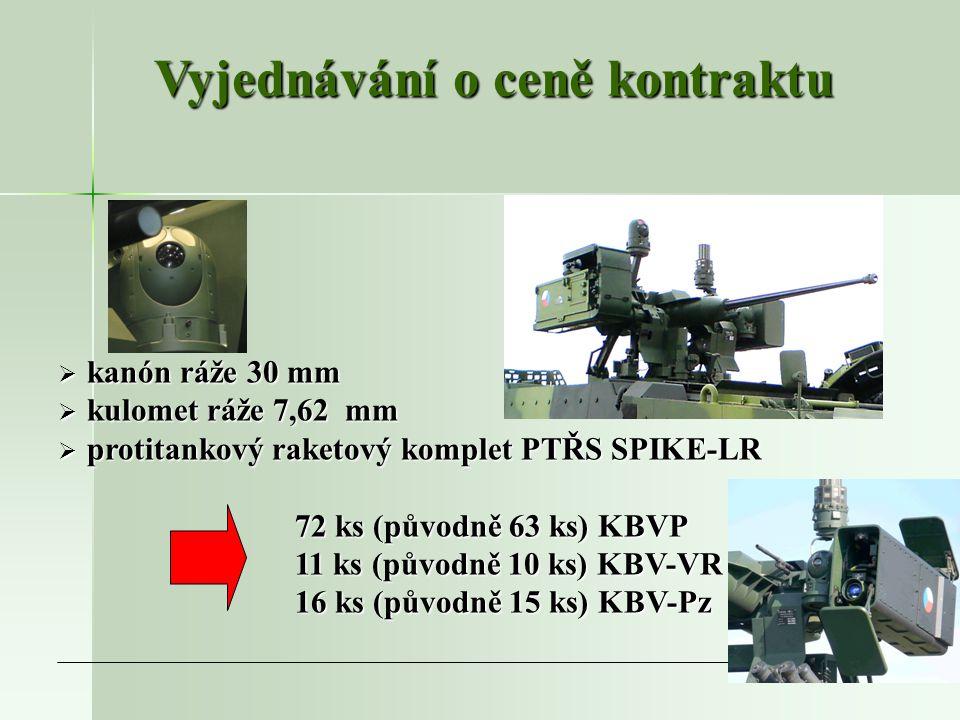 8  kanón ráže 30 mm  kulomet ráže 7,62 mm  protitankový raketový komplet PTŘS SPIKE-LR 72 ks (původně 63 ks) KBVP 72 ks (původně 63 ks) KBVP 11 ks