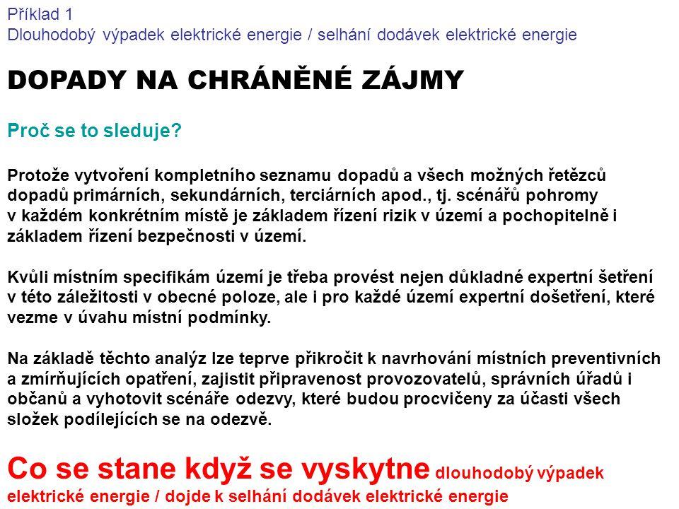 Příklad 1 Dlouhodobý výpadek elektrické energie / selhání dodávek elektrické energie DOPADY NA CHRÁNĚNÉ ZÁJMY Proč se to sleduje? Protože vytvoření ko